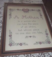 Handmade Needlepoint Picture~Mother Needlepoint Framed Picture~nice gift for Mom