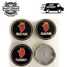 4 x Black 62mm 63mm SAAB Alloy Wheel Centre Hub Caps fit 9-3 9-5 93 95