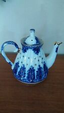 """Lovely Lomonosov Cobalt Blue White & Gold Teapot Made In Russia 7"""" Tall A+ NICE!"""
