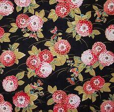 Sakura Metálico Pequeño Oriental Flor Gallo Rojo Negro cuarto Gordo Tela De Algodón