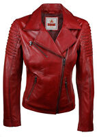 Ladies Women Genuine Real Leather Slim Fit Red Biker Jacket