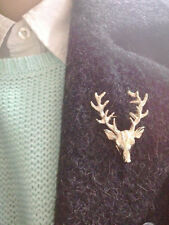 Unisex Christmas Gold Milu Head Horn Hunting Collar Brooch Pin Jewelry Accessory