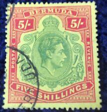Bermuda George VI 5/- Definitive Red & Green  SG118f Superb Used Cat £45 In 2016