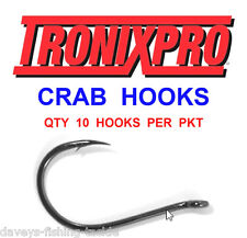10 Tronix Crab Hooks Size 1 for Sea Fishing Line Boat Rod Bait Clip Rigs Lures