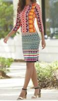 Monroe and Main size L New Summer Print Thin Knit Career Casual Stretch Dress