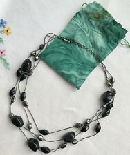 Black & Silver-Grey Bead Necklace Chain Beads plastic Statement Multistrand