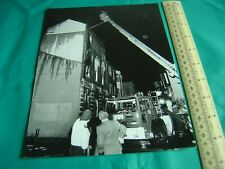Large Photograph Fireman Attending Fire on Very High Ladder 1991 Reproduction