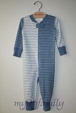 HANNA ANDERSSON Baby Organic Zip Sleeper Seacloth Blue Soft White 70 9-12 mo NWT
