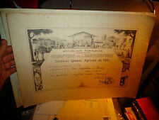 Ancien Diplome Agricole Concours Scène de Battage Tracteur Elevage Vin Fromage b