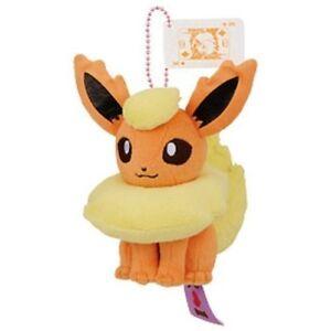 "Pokemon I Love Eevee 5"" Flareon Character Ball-Chain Plush Doll Toy Anime Art"