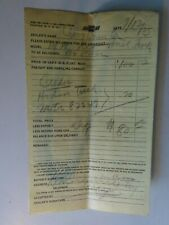 1933 Chevrolet New Order Form for a Panel Truck