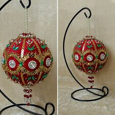 Beaded Christmas Balls Velvet Ornament Decoration Holiday Authentic
