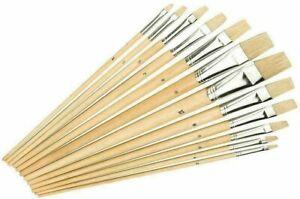 Set of 12 Work of Art Natural Bristle Artist Brushes Flat Tip TAL06717