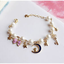 "Women Girl 8""Sailor Moon Bracelet Bangle Freshwater Pearl Chain Charm Jewllery"