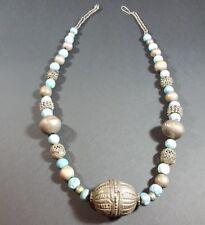 Antique Yemenite Bedouin Tribal Ethnic Arabic Necklace Globe Beads Turquoise N23