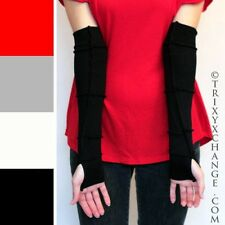 Long Cotton Sleeves Black Arm Warmers Reversible Gloves Steampunk Patchwork Goth