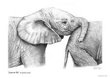 Signed Baby Elephant Print by Kathryn Saunby