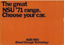 NSU 1970-71 UK Market Foldout Sales Brochure Prinz 4 1000 1200 TT TTS Ro80