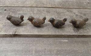 4 CAST IRON BIRD CABINET KNOBS PULLS DRAWER DRESSER HANDLES RUSTIC BIRDS SPARROW