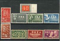 SVIZZERA SWITZERLAND 1945 PACE PAX  Cat.UNI.#409-417 ALTI VALORI MNH**  LUXUS