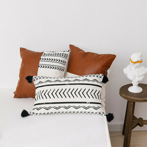 Canvas PU Leather Splicing Back Cushion Cover Pillow Case Bohemia Style