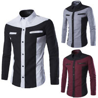 Luxury Men's Stylish Casual Dress Shirt Slim Fit T-Shirt Long Sleeve Formal Tops