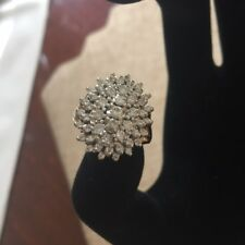 14K Y/G Gold 50 Diamonds Appr. 1.25 TCW Cocktail Dinner Cluster Ring