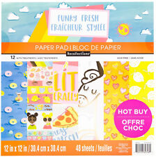"New Recollections Funky Fresh 12""x12"" Paper Pad 48 Sheets 12 w Treatments, Food"