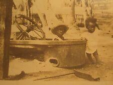 VINTAGE ANTIQUE AFRICAN AMERICAN ANGELS CONVERTED BATHTUB UNUSUAL BOAT CAR PHOTO