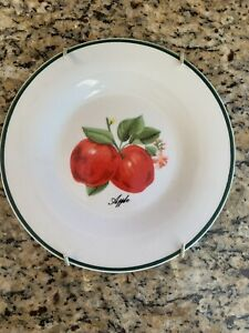 Apple Hanging Plate 7.5 Inches White, Red, With Green Trim