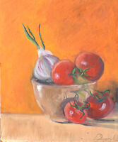 Tomatoes and garlic in ceramic pot Oil painting signed 8x10in Still Life Realism