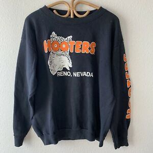 Vintage Hooters Crew Neck Sweatshirt  Reno Nevada Sports Bar M/L Biker Trucker
