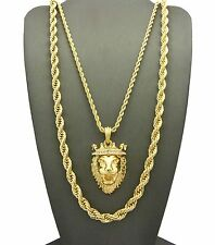 "NEW HIP HOP ICED OUT KING LION PENDANT W/ 24"", 30 ROPE CHAIN NECKLACE SET GN062G"