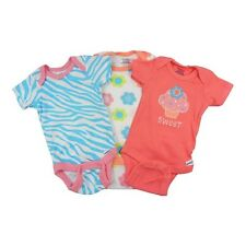 Gerber 3-Piece Girl Pink Cupcake/Flowers Onesies Size 0-3M BABY CLOTHES GIFT