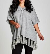 Plus  Size Ladies Grey Soft Fringe Poncho Size 18-20 Free post RRP $60