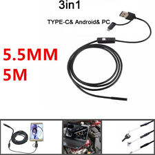 NEW Android USB TYPE-C Snake Endoscope Inspection 5.5 mm HD Camera 6 LED IP67
