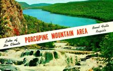 Bond Falls Mi Porcupine Mountain Area-Lake Of The Clouds Up Postcard 1950s
