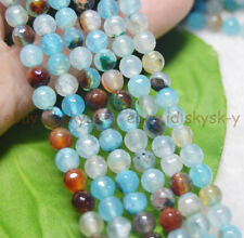 """Multi-colored 6mm Blue Polychrome Agate Faceted Gemstone Round Loose Beads 15"""""""