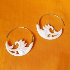 Carved Waves Hoop Earrings .925 Sterling Silver Hook Wholesale Modern Jewelry