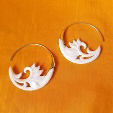 Carved Waves Hoop Earrings .925 Sterling Silver Hook Wholesale Modern Jewelry
