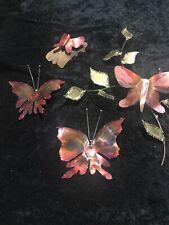 Vintage MCM Brass  Butterfly Sculpture Decor ~ 4 Pieces