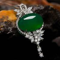 Green Chalcedony Natural Stone Crystal Pendant Necklace For Women Jewelry