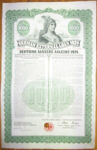 GERMANY 7% Dawes Gold Bond $1000 1924 SCRIPOTRUST certified