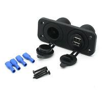 12V Dual Port USB Charger and Socket Car Boat Panel Mount Marine Power Outlet ON