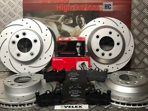 FRONT REAR DRILLED & GROOVED DISCS BREMBO PADS VW TOUAREG PORSCHE CAYENNE 02-18