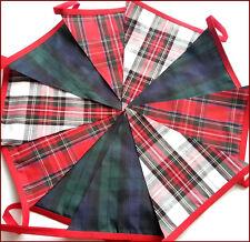 Mixed Tartan Fabric Bunting Red Black + White 10ft Cèilidh Burns Night Handsel