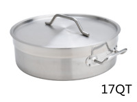 17 QT Stainless Steel Casserole Low Pot Outdoor Cooking Pot Stockpot with Lid