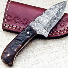 """NEW CUSTOM HANDMADE DAMASCUS 5.50"""" MINI HUNTING KNIFE RAM HORN HANDLE - UT-3682"""