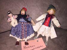 Antique European Grecon Doll House Family Hessen Mom, Dad & Baby Felt Dolls