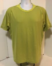 Lululemon Mens Short Sleeve Athletic Workout Tee Shirt Lime Grey Pinstripe L